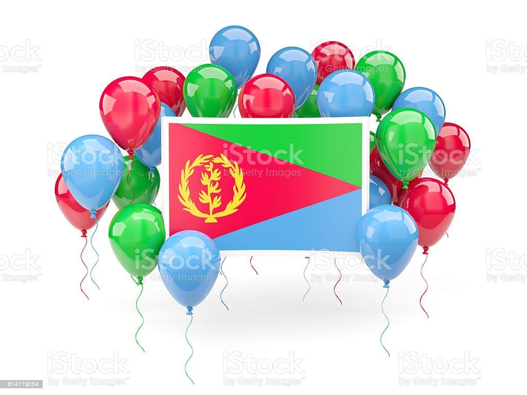 Flag of eritrea with balloons stock photo