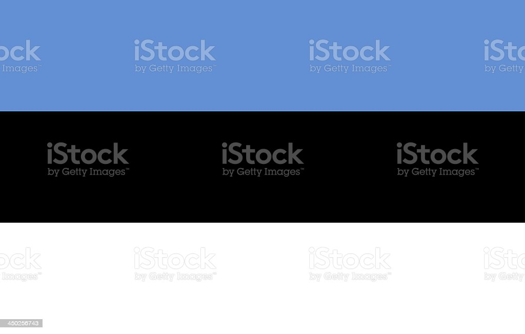 A Flag of Estonia in black white and blue stock photo