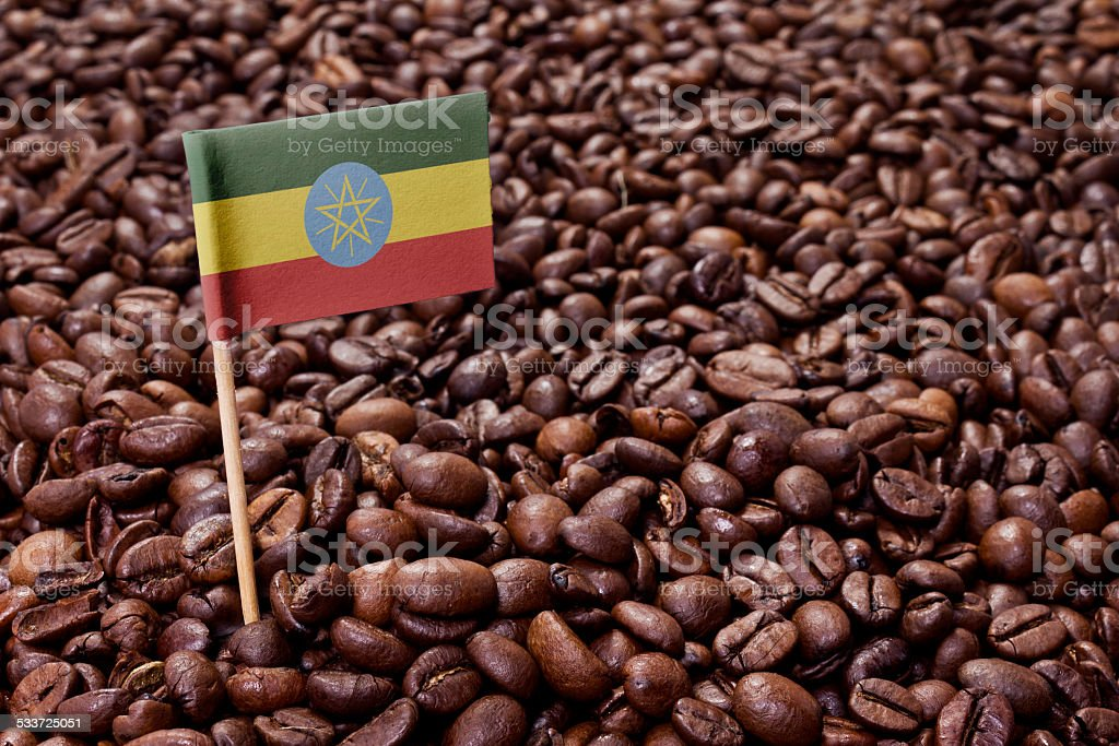 Flag of Ethiopia sticking in coffee beans.(series) stock photo
