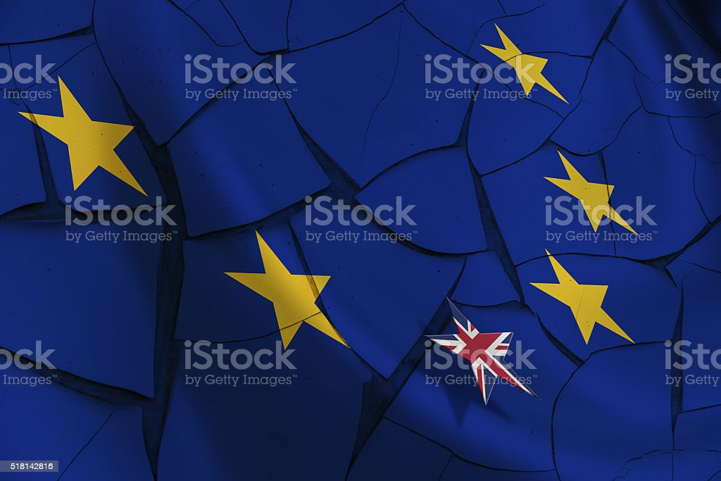 Flag of EU and 12 gold (yellow) stars. stock photo