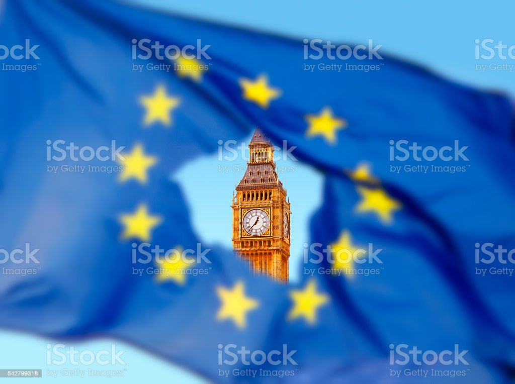 Flag of EU with Big Ben in the hole stock photo