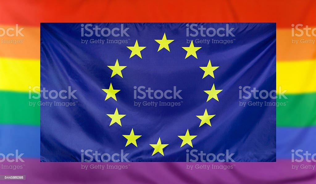 Flag of Europe and rainbow flag stock photo