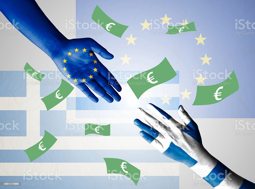 Flag of European Union and Greece painted on hand stock photo