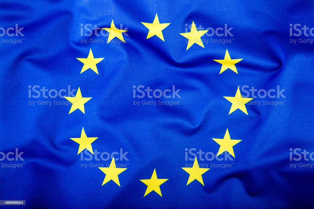 Flag of European Union waving in the wind. stock photo