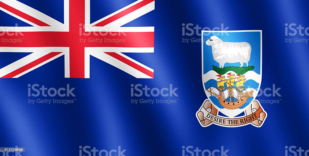 Flag of Falkland Islands waving in the wind stock photo