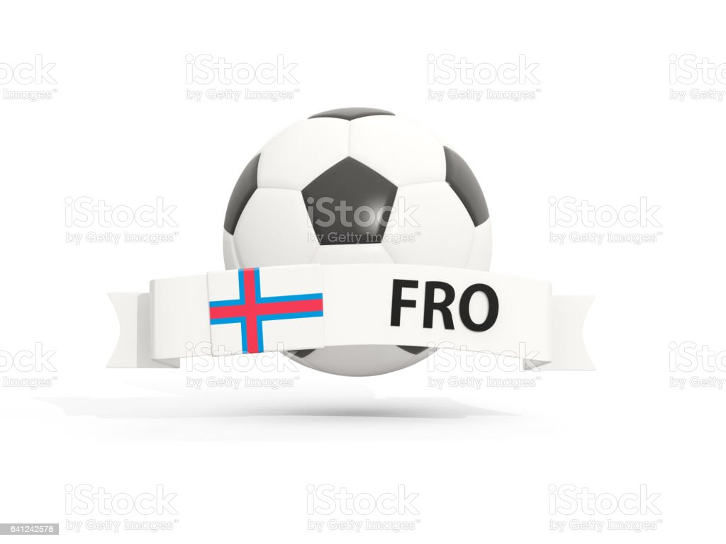 Flag of faroe islands, football with banner and country code stock photo