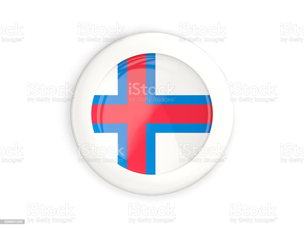 Flag of faroe islands, glossy round button stock photo