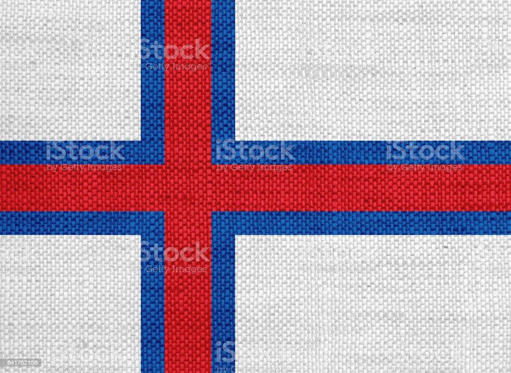 Flag of Faroe Islands on old linen stock photo