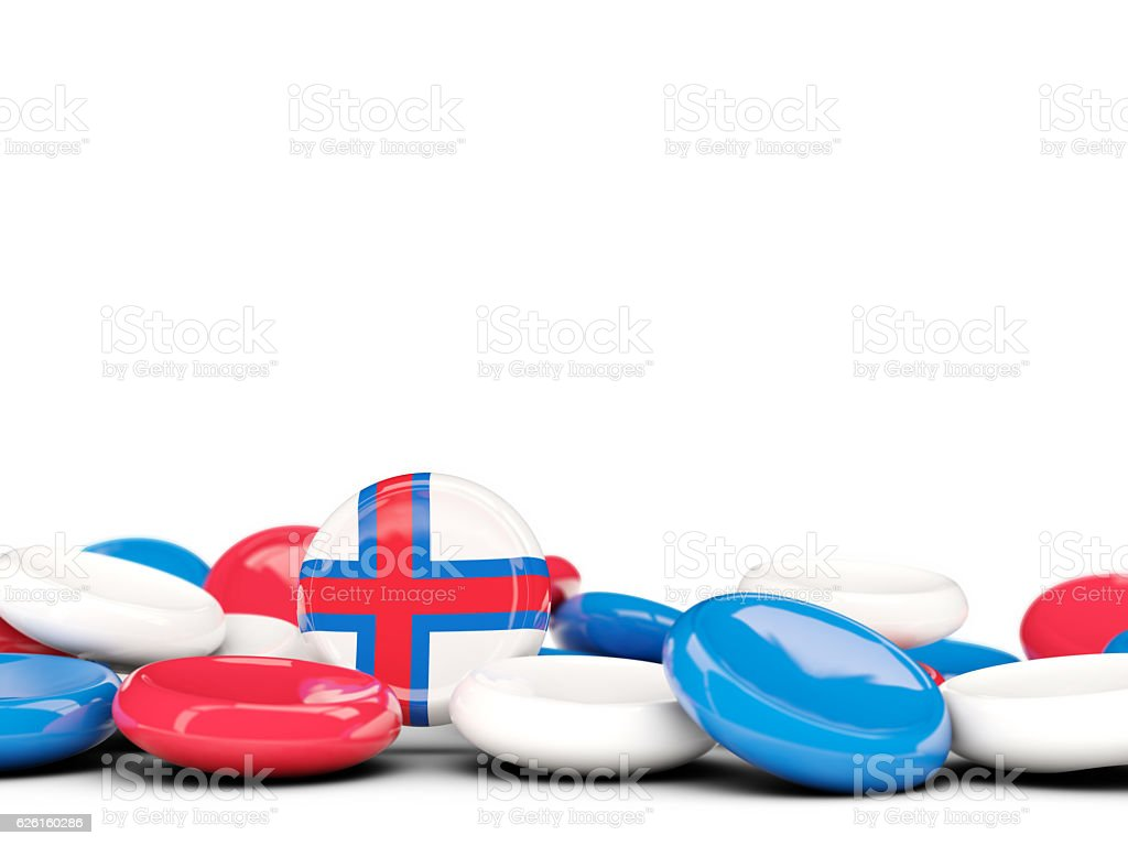 Flag of faroe islands, round buttons stock photo
