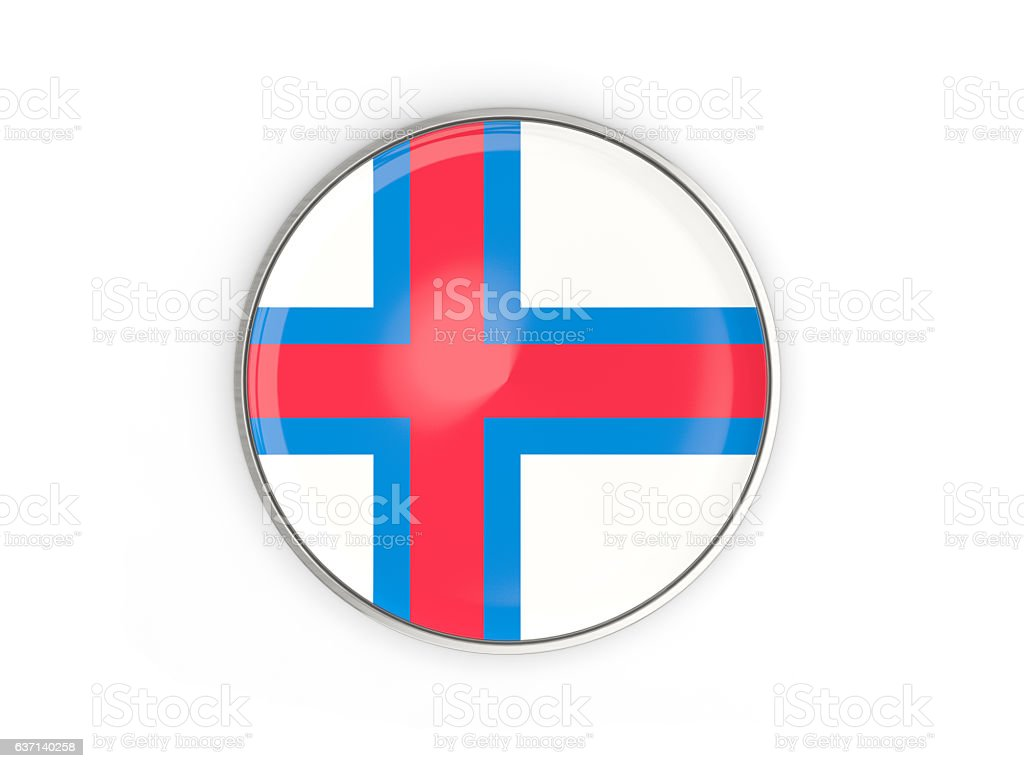 Flag of faroe islands, round icon with metal frame stock photo