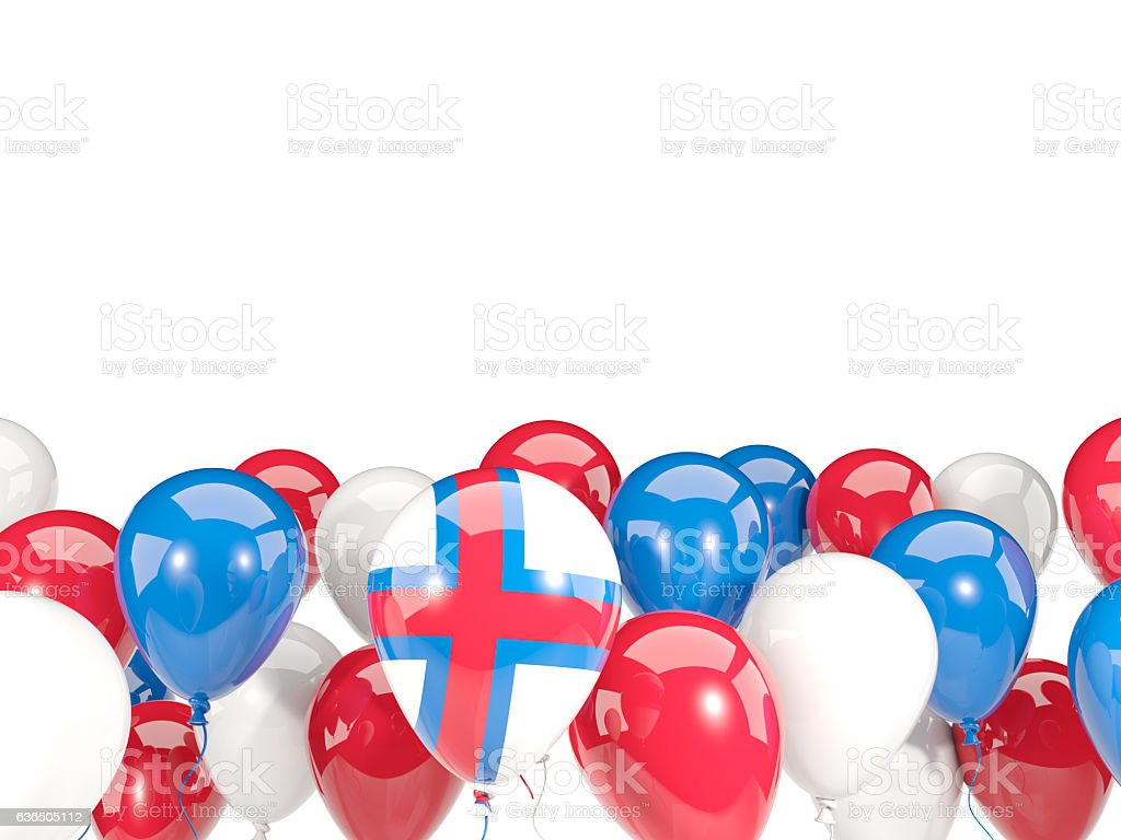 Flag of faroe islands with balloons stock photo