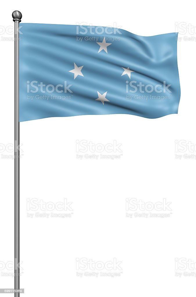 Flag of Federated States against white background. stock photo