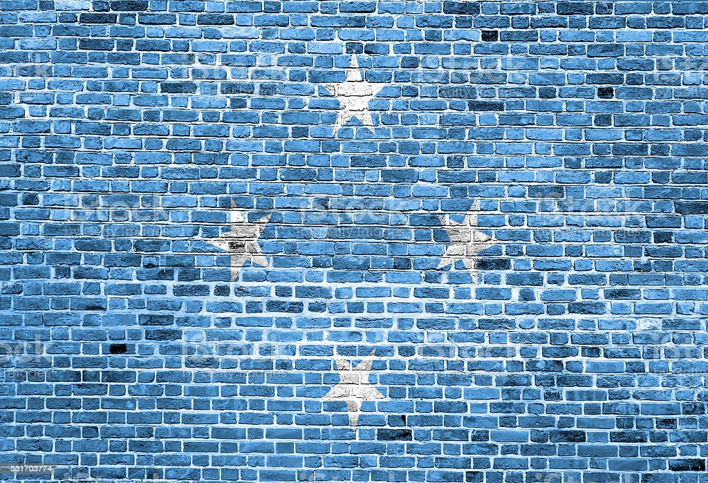 Flag of Federated States of Micronesia painted on brick wall stock photo