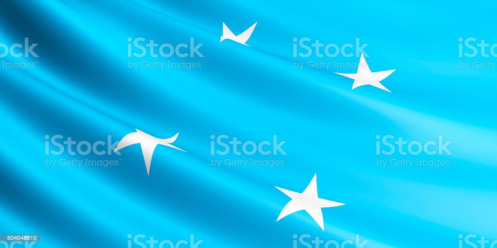 Flag of Federated States of Micronesia waving in the wind. royalty-free stock vector art