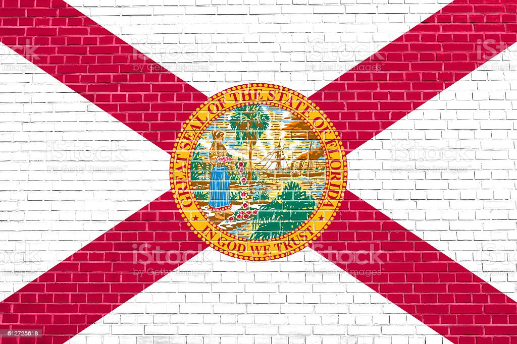 Flag of Florida on brick wall texture background stock photo