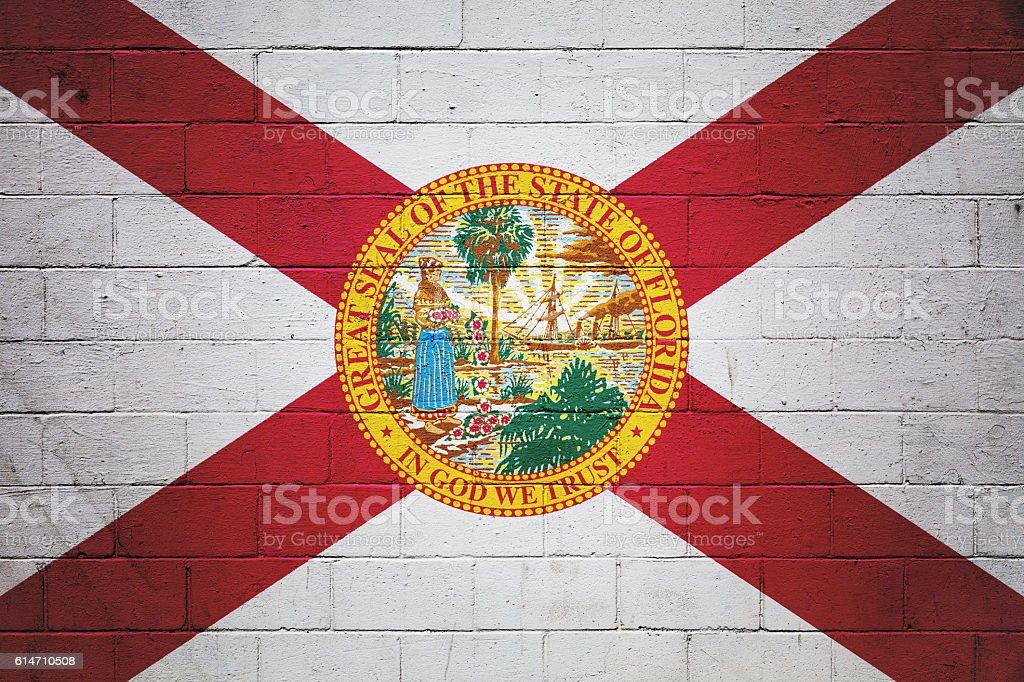 Flag of Florida painted on a wall stock photo