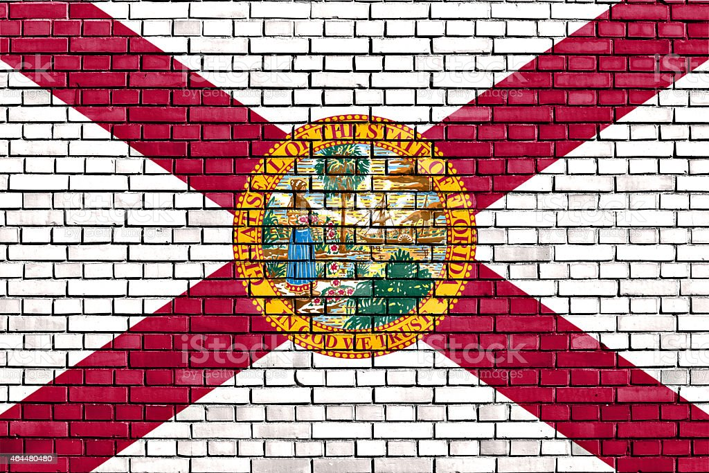 flag of Florida painted on brick wall stock photo