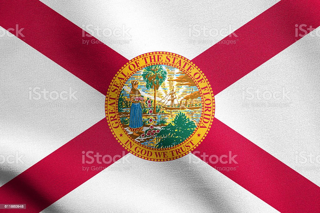 Flag of Florida waving with fabric texture stock photo