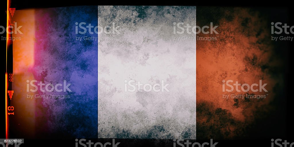 Flag of France, on a grunge film frame stock photo