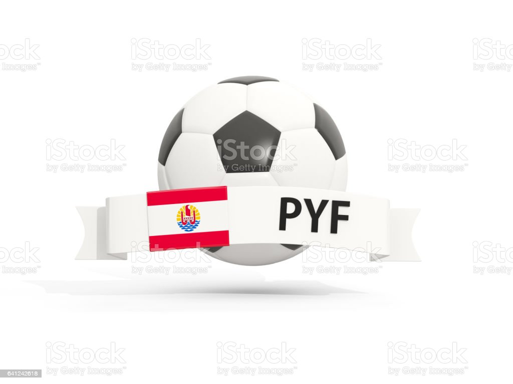 Flag of french polynesia, football with banner and country code stock photo