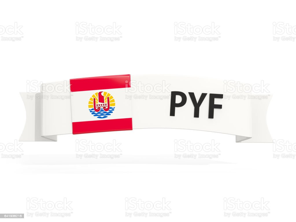 Flag of french polynesia on banner stock photo