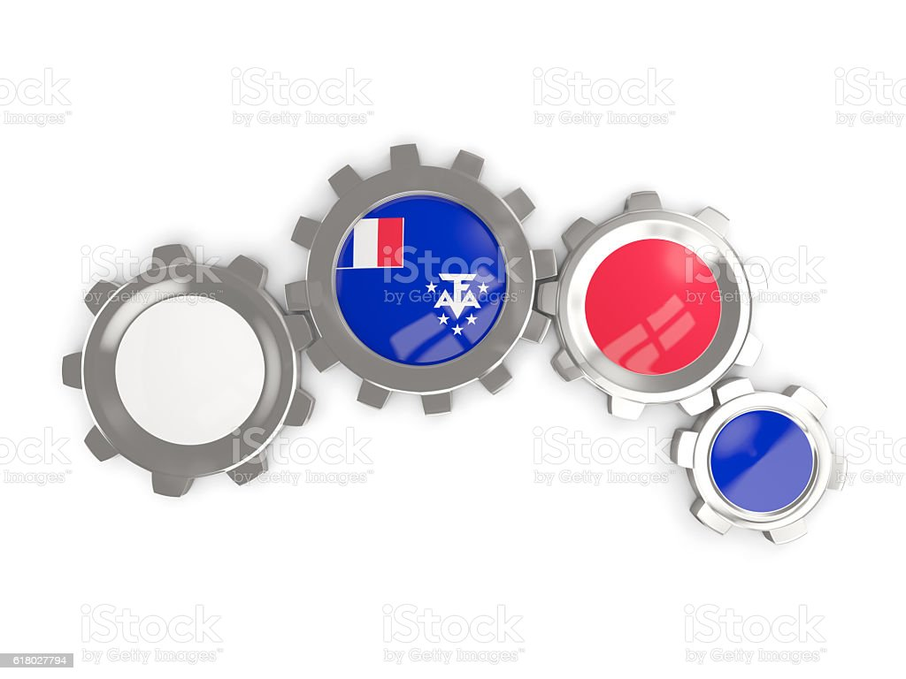 Flag of french southern territories, metallic gears stock photo