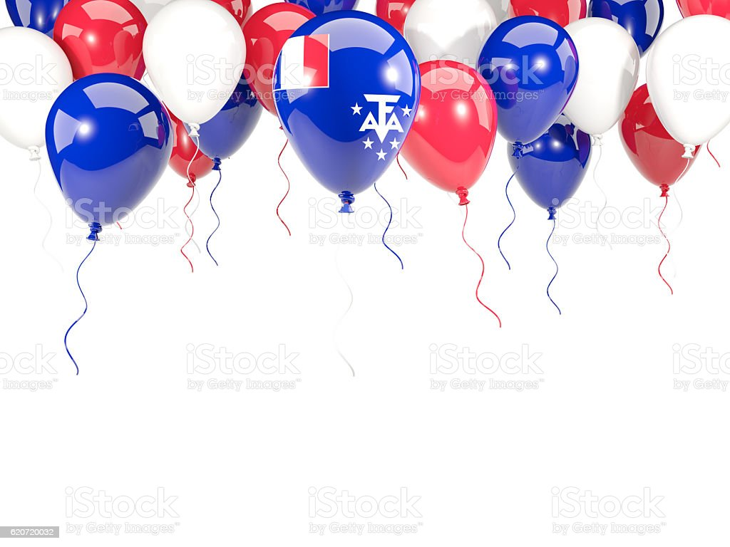 Flag of french southern territories on balloons stock photo