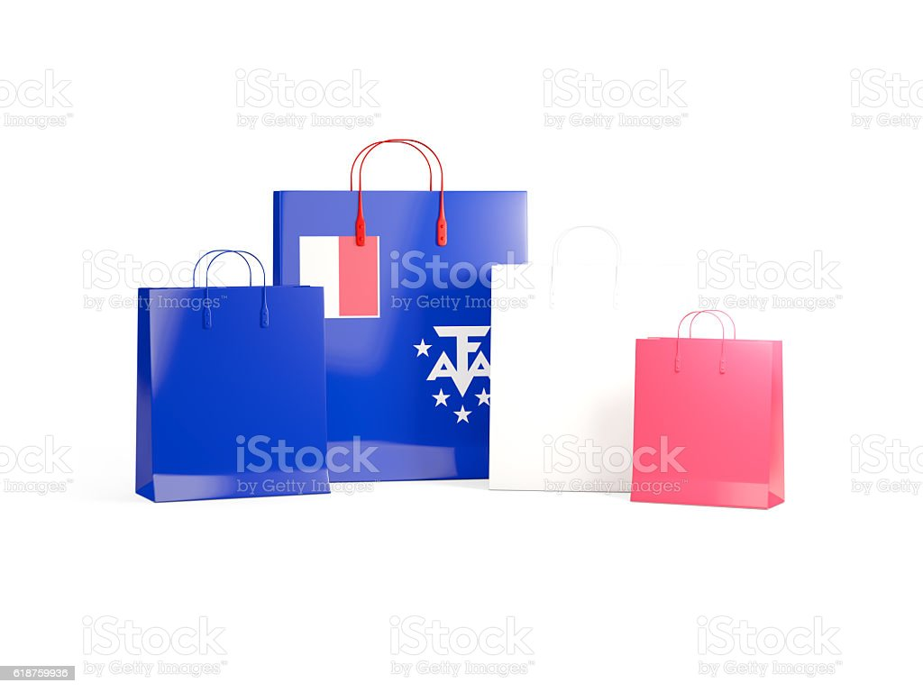 Flag of french southern territories on shopping bags stock photo