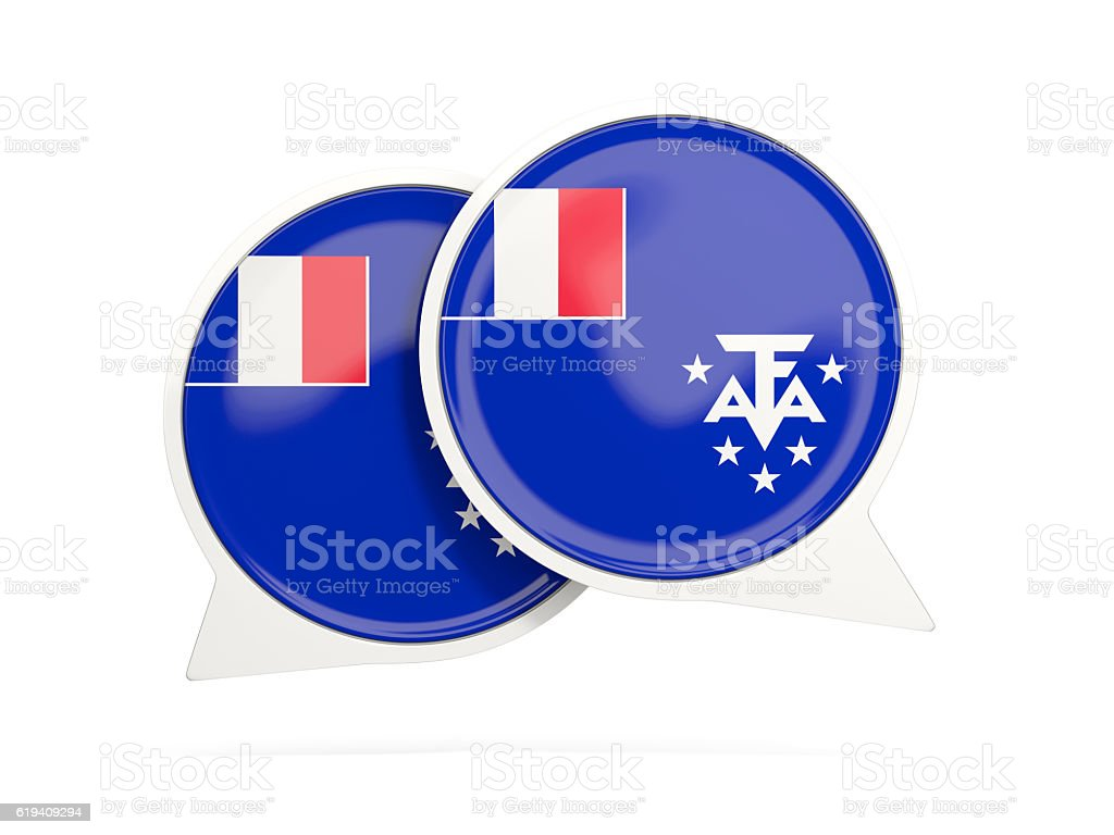 Flag of french southern territories, round chat icon stock photo