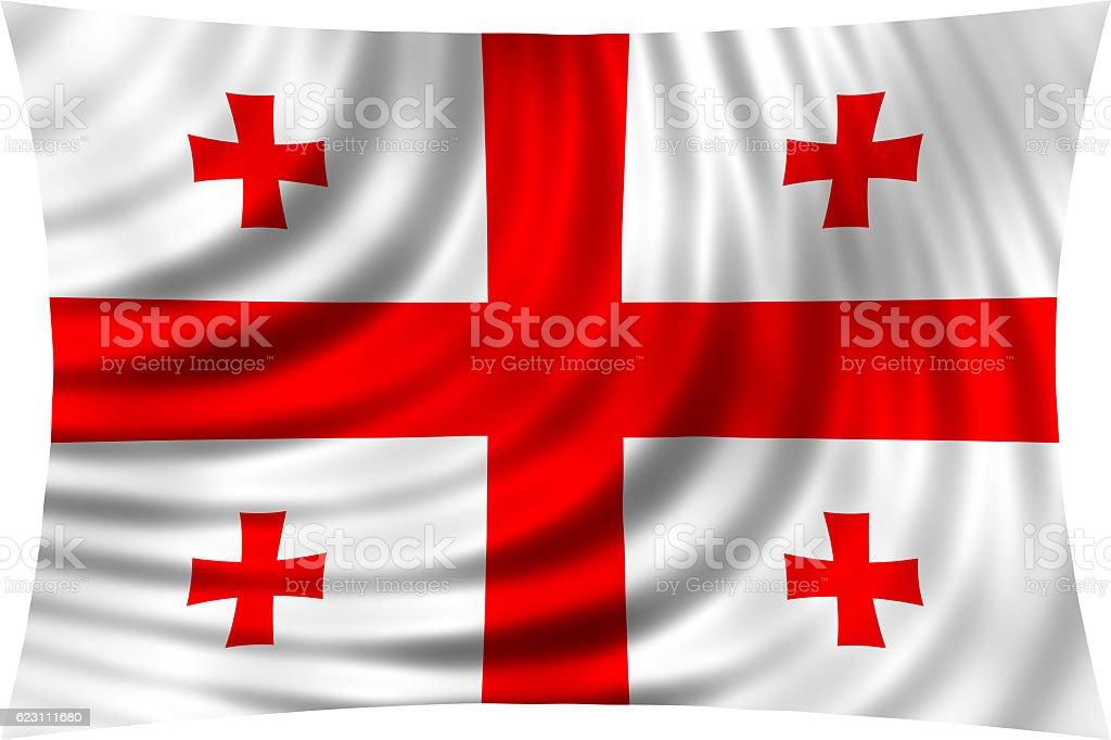 Flag of Georgia waving isolated on white stock photo