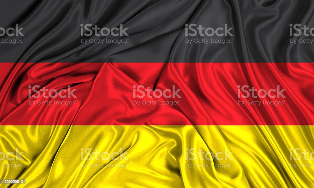 Flag of Germany 3d, silk textured stock photo