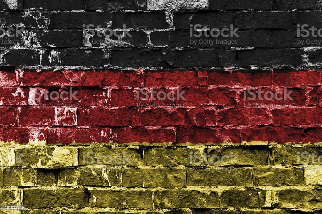 Flag of Germany painted on brick wall royalty-free stock photo