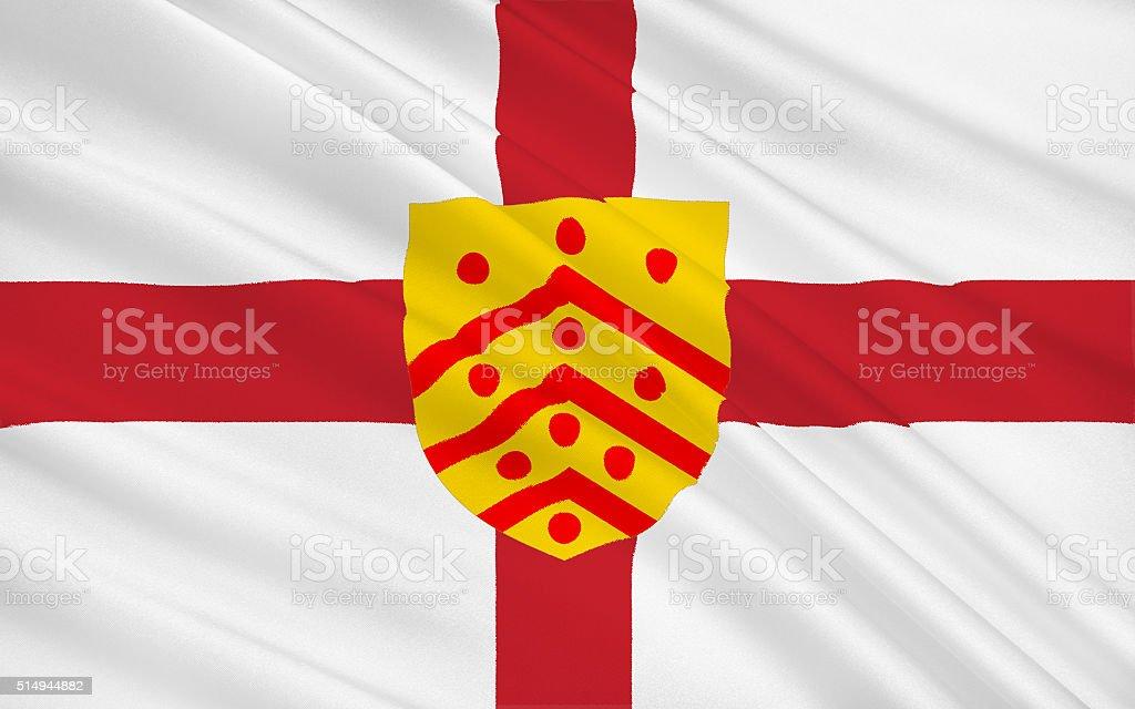 Flag of Gloucester city, England stock photo
