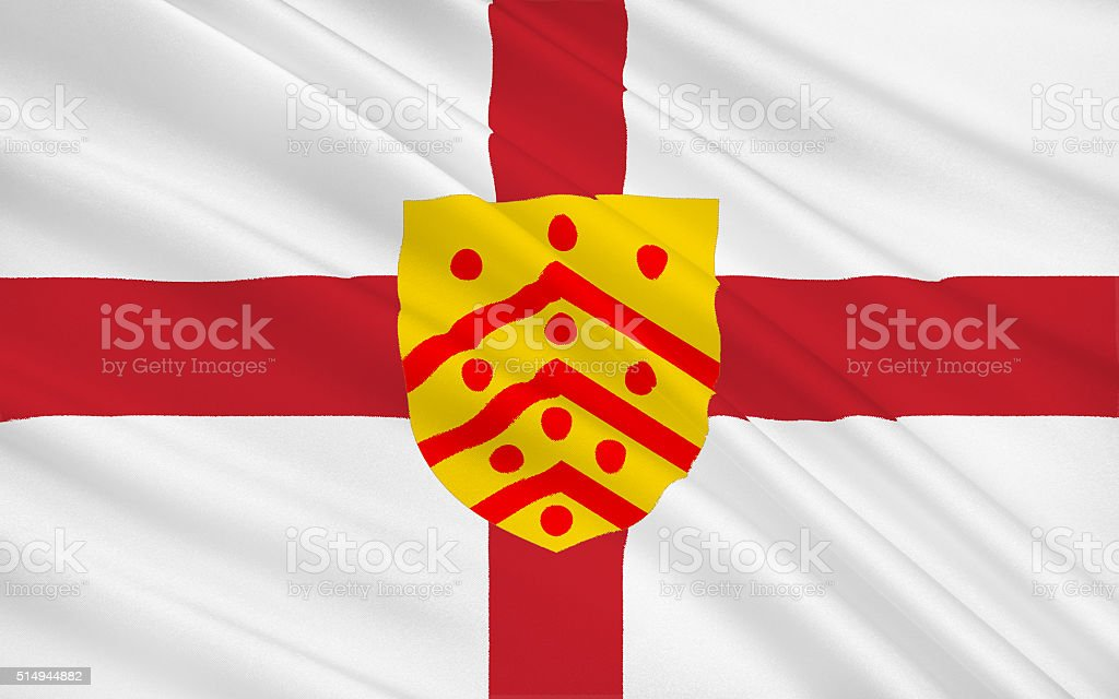 Flag of Gloucester city, England stock photo
