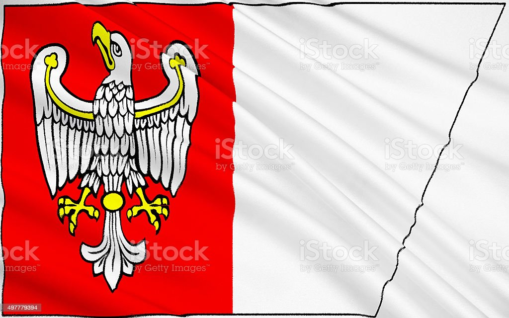 Flag of Greater Poland Voivodeship in west-central Poland stock photo