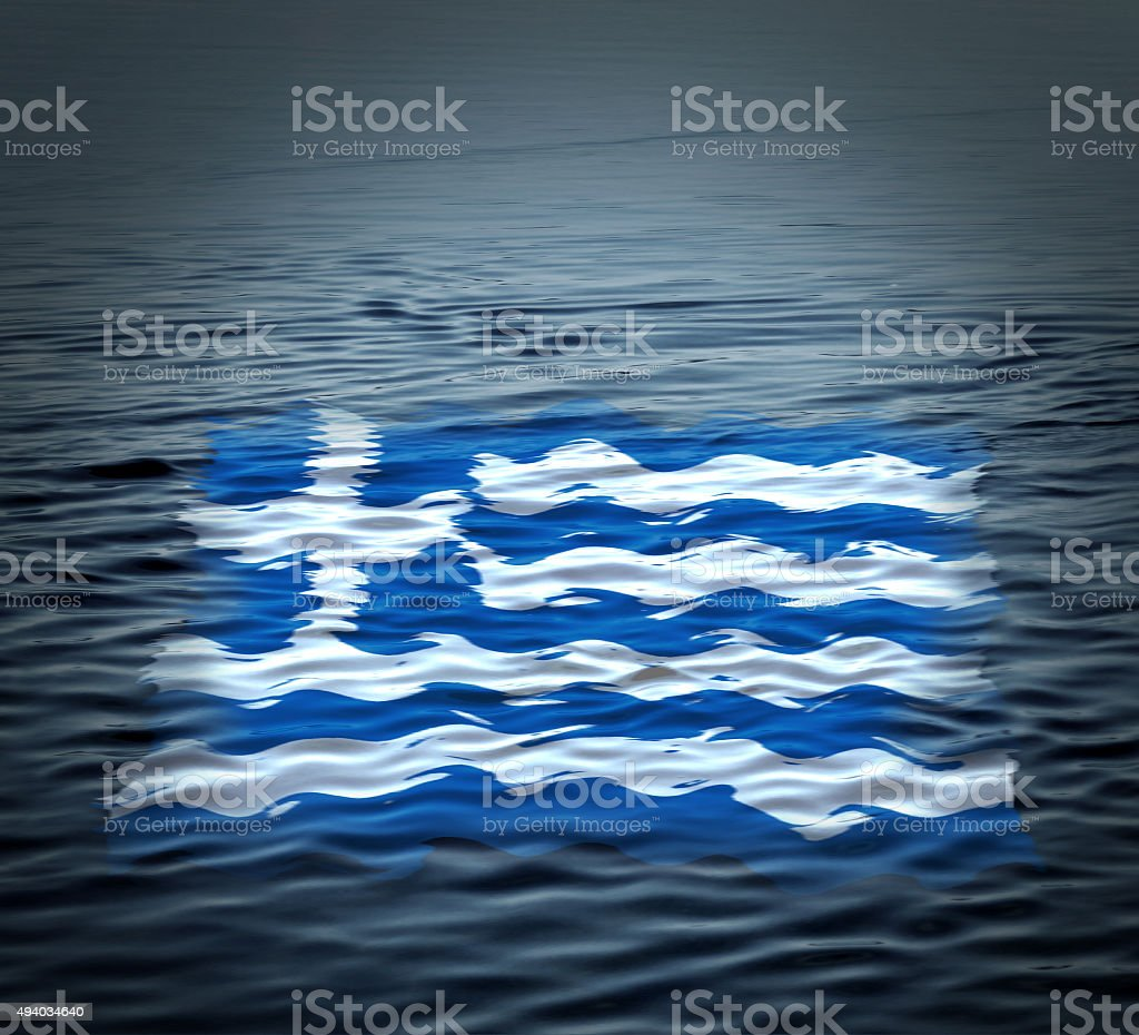 Flag of Greece adrift on the water. Crisis symbol stock photo