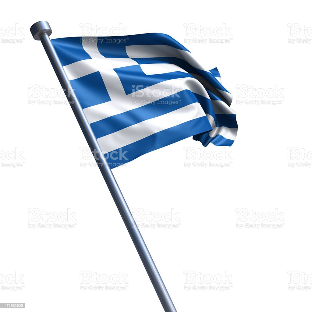 Flag of Greece isolated on white stock photo