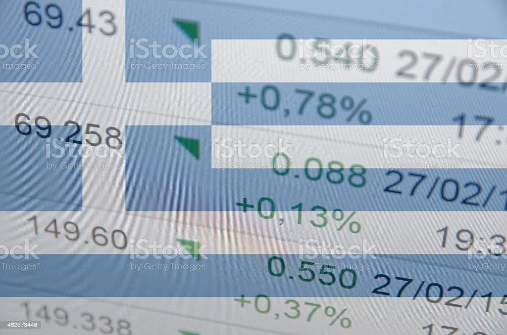 Flag of Greece. Stock market data on background. stock photo