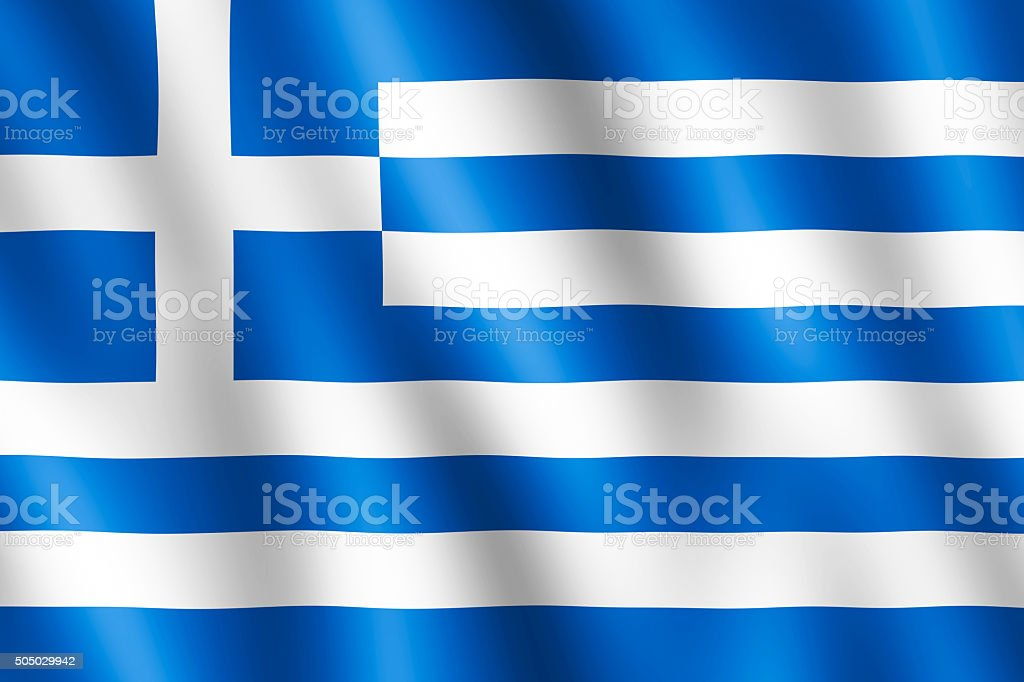 Flag of Greece waving in the wind stock photo