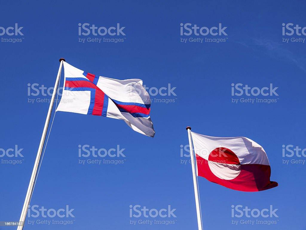 Flag of Greenland and Faroe Islands stock photo