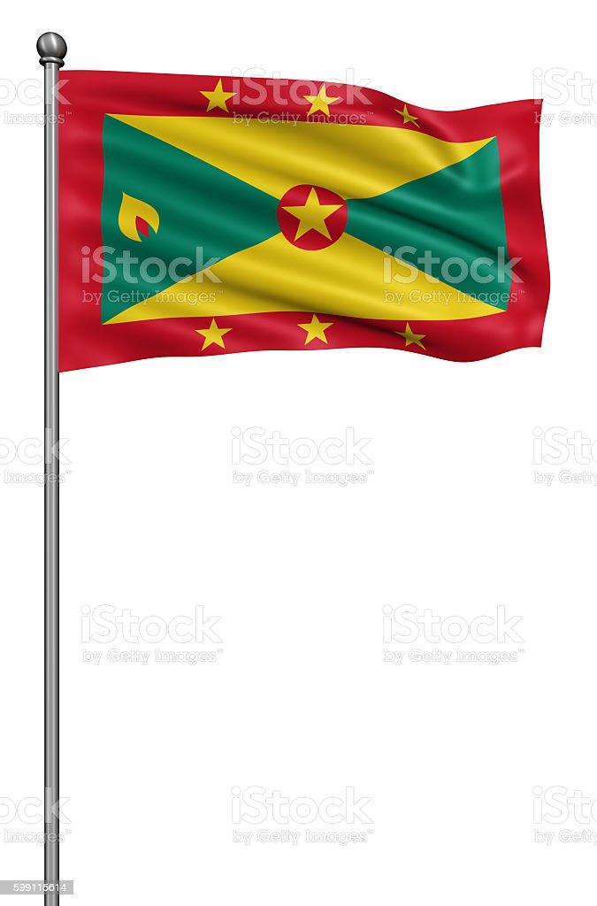 Flag of Grenada  against white background. stock photo
