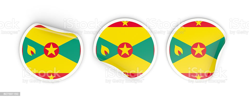 Flag of grenada, round labels stock photo