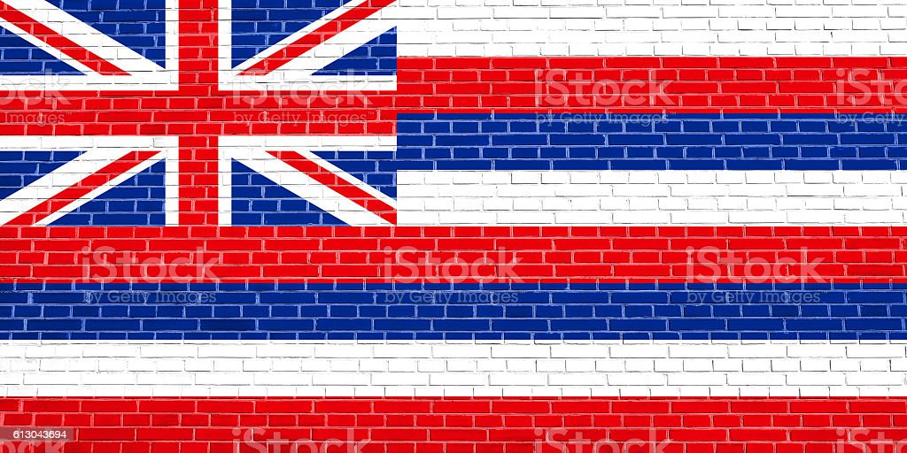 Flag of Hawaii on brick wall texture background stock photo