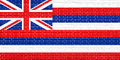 Flag of Hawaii on brick wall texture background