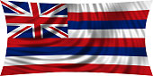 Flag of Hawaii waving isolated on white