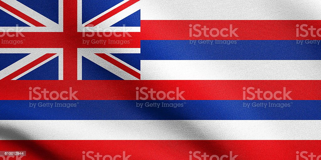 Flag of Hawaii waving with fabric texture stock photo