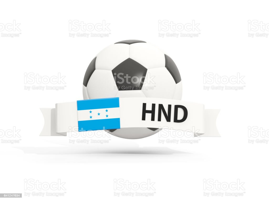 Flag of honduras, football with banner and country code stock photo