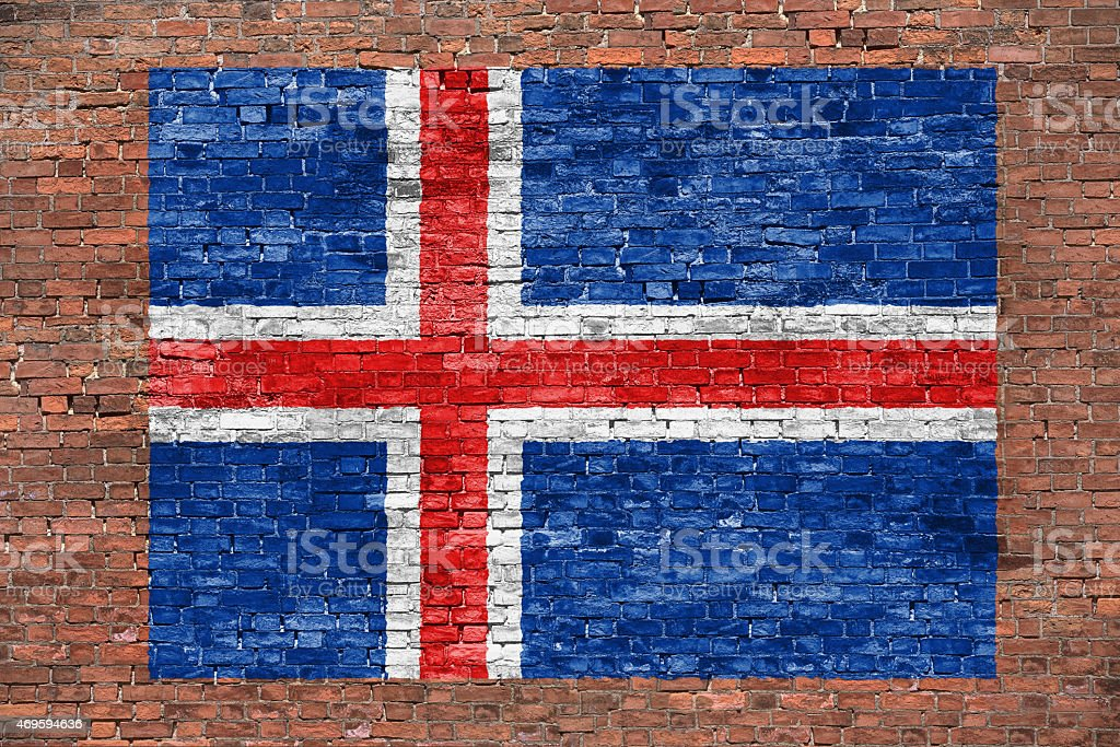 Flag of Iceland painted over brick wall stock photo