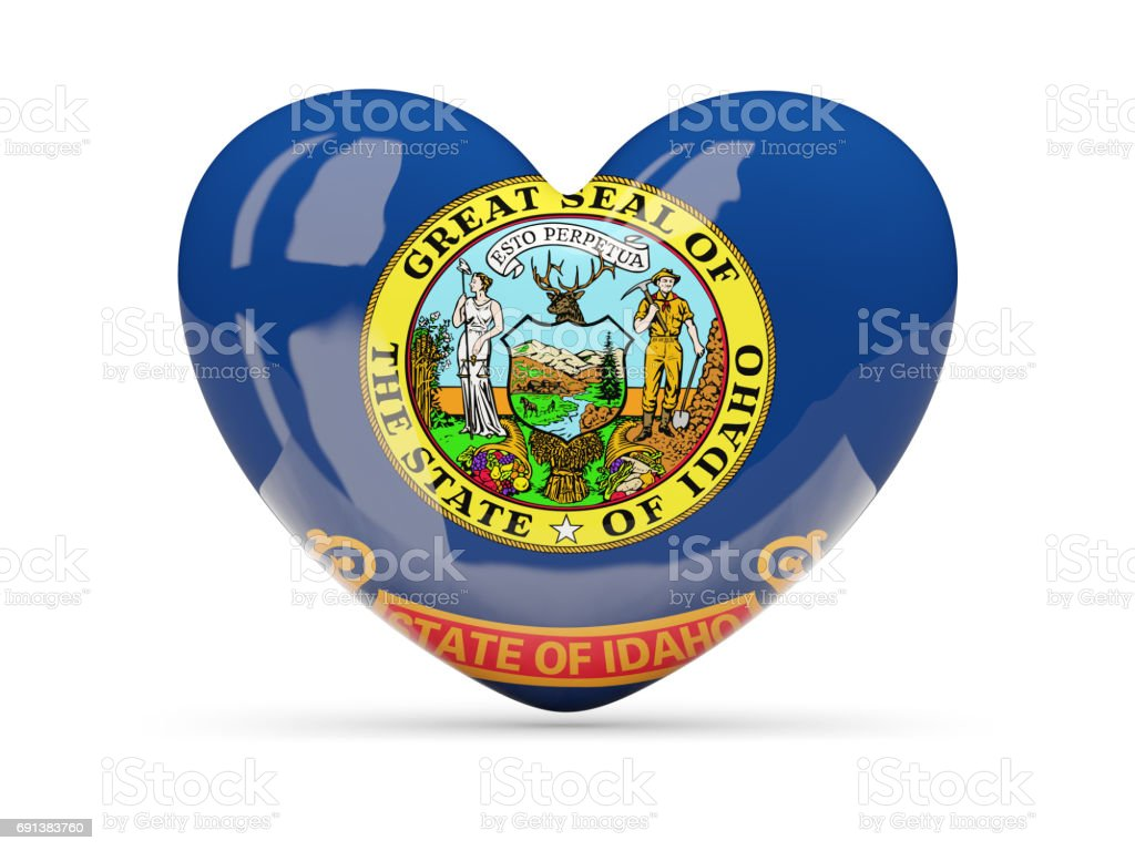 Flag of idaho, US state heart icon stock photo