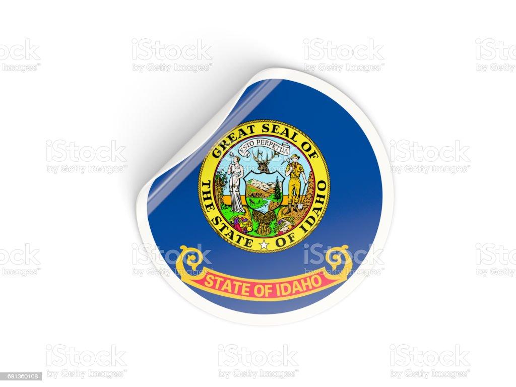 Flag of idaho, US state round sticker stock photo